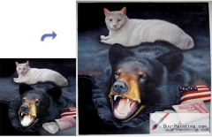 Custom Pet Portrait-The cat lying on the bear skin