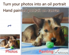 Custom Pet Portrait-A dog playing a green ball