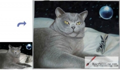 Custom Pet Portrait-Grey cat