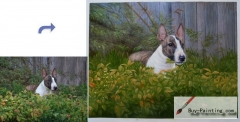 Custom Pet Portrait-A dog in the bush