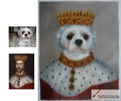 Custom oil portrait-Dog queen