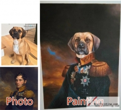 Custom oil portrait-The dog staring at the front