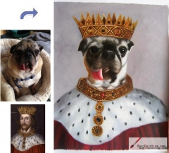 Custom oil portrait-The dog king