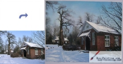 Custom House Portrait-A house in the snow
