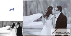 Custom Oil Portrait-The bride and groom kiss in the wind
