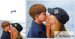 Custom Oil Portrait-Mother kiss son