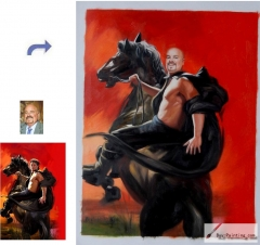 Custom oil portrait-A man on horseback