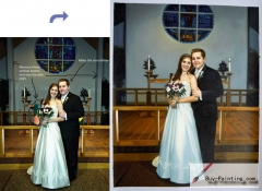 Custom Oil Portrait-The bride and groom in the church
