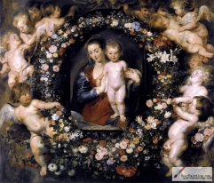 Rubens Madonna on Floral Wreath