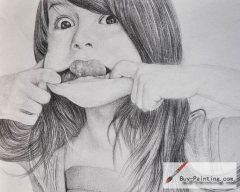 Custom Drawing-A girl making faces