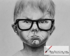 Custom Drawing-A little boy with a big glasses