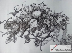 Custom Drawing-Flowers and birds