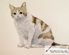 Watercolor painting-Original art poster-White belly cat