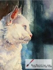 Watercolor painting-Original art poster-Cat with blue background