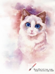 Watercolor painting-Original art poster-Cat with blue eyes