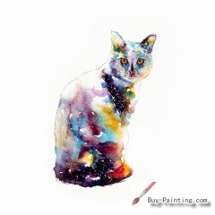 Watercolor painting-Original art poster-The cat in the light