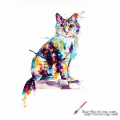 Watercolor painting-Original art poster-A cat sitting on a branch