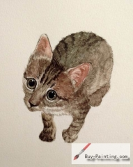 Watercolor painting-Original art poster-Little cat