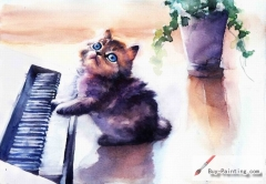 Watercolor painting-Original art poster-Cat playing the piano