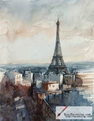 Watercolor painting-Original art poster-Iron tower