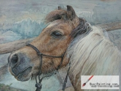 Watercolor painting-Original art poster-A horse