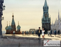 Watercolor painting-Original art poster-Square in Russia