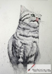 Watercolor painting-Original art poster-A cat with tongue