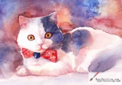 Watercolor painting-Original art poster-Cat with tie