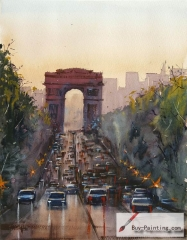 Watercolor painting-Original art poster-Triumphal Arch