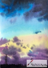 Watercolor painting-Original art poster-The sky before the storm