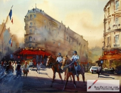 Watercolor painting-Busy street