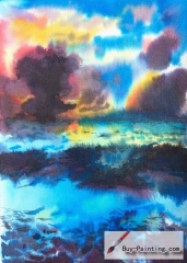 Watercolor painting-Original art poster-Colorful cloudy