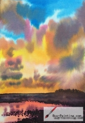 Watercolor painting-The pond under the clouds