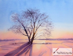 Watercolor painting-Trees under the setting sun