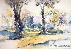 Watercolor painting-House under the sunshine