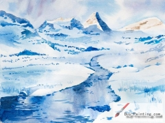 Watercolor painting-Mountain in winter