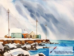 Watercolor painting-The village by the seaside