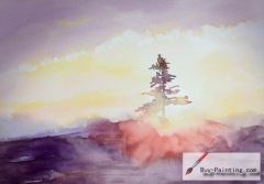 Watercolor painting-Pine tree in the morning