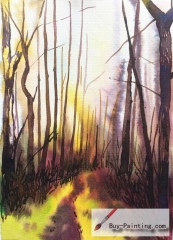 Watercolor painting-Woods in the morning