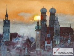 Watercolor painting-Impression of the castle