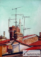 Watercolor painting-Roof