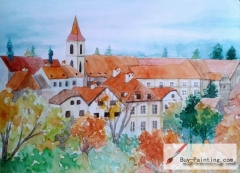 Watercolor painting-Red roof house