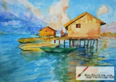 Watercolor painting-House in the river