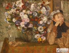 Woman Seated beside a Vase of Flowers, 1865,