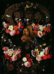 Cartouche with the bust of Nicolas Poussin in the garland of flowers, Daniel Seghers, c. 1650–1651