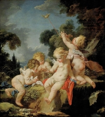 Putti with Birds, c. 1730-1733