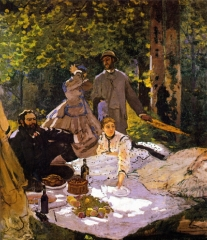 Claude Monet, Le Déjeuner sur l'herbe (right section), with Gustave Courbet, 1865–66