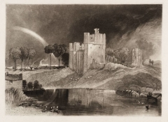 An engraving of a sketch by Turner depicting Brougham Castle. The sketch, made during a visit to the castle in 1809