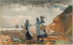 Three Fisher Girls, Tynemouth, watercolor on paper 1881