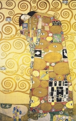 Decorative patterns were often used by Gustav Klimt in his paintings. Die Umarmung (The Embrace) - detail from the Palais Stoclet in Brussel